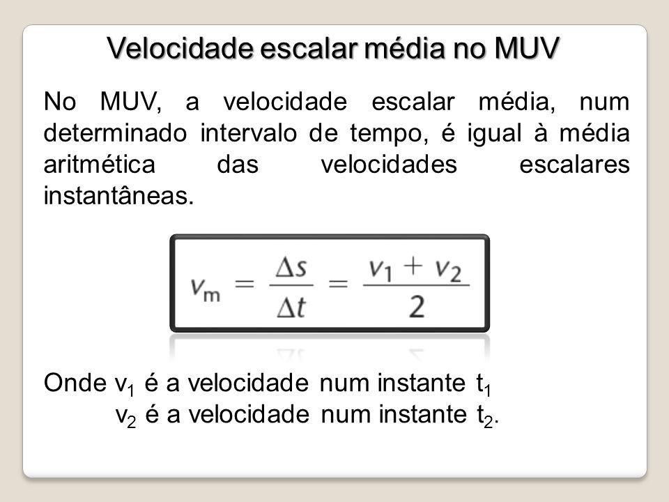 Velocidade escalar média no MUV Velocidade escalar média no MUV No MUV, a velocidade escalar média, num determinado intervalo de tempo, é igual à médi