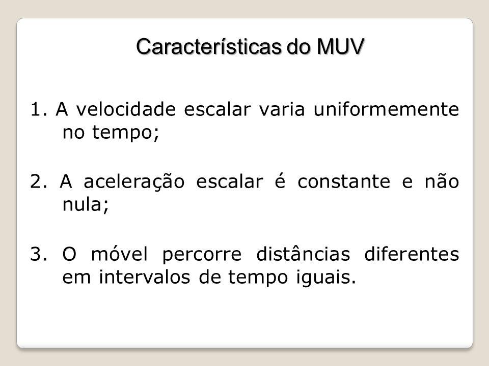 Características do MUV 1. A velocidade escalar varia uniformemente no tempo; 2. A aceleração escalar é constante e não nula; 3. O móvel percorre distâ