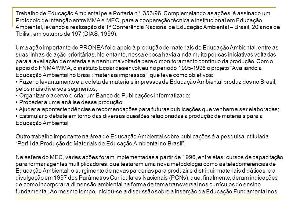 Trabalho de Educação Ambiental pela Portaria nº. 353/96. Complemetando as ações, é assinado um Protocolo de Intenção entre MMA e MEC, para a cooperaçã