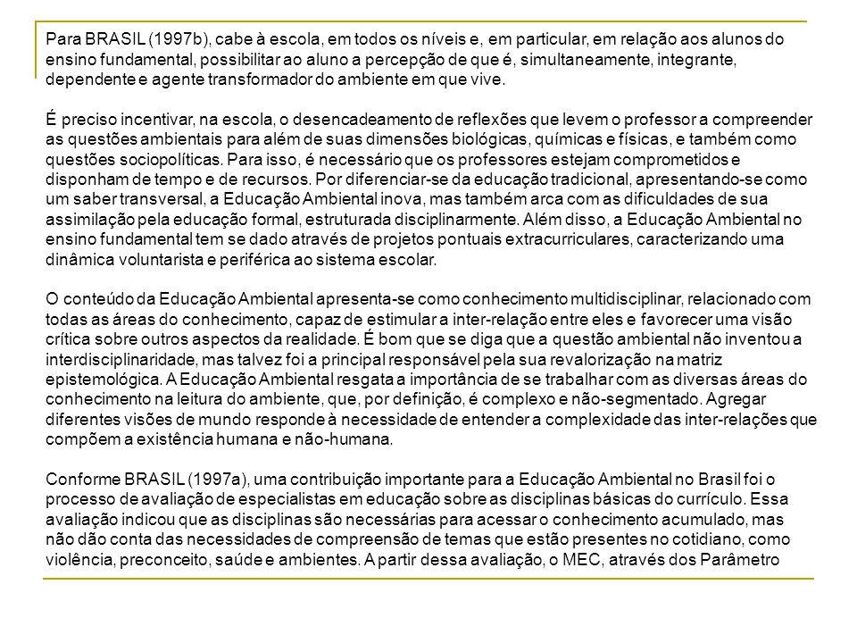 Para BRASIL (1997b), cabe à escola, em todos os níveis e, em particular, em relação aos alunos do ensino fundamental, possibilitar ao aluno a percepçã