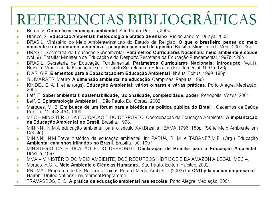 REFERENCIAS BIBLIOGRÁFICAS Berna, V. Como fazer educação ambiental. São Paulo: Paulus, 2004. Branco, S. Educação Ambiental: metodologia e prática de e