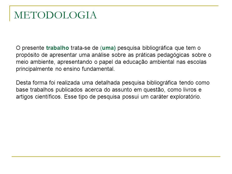 METODOLOGIA O presente trabalho trata-se de (uma) pesquisa bibliográfica que tem o propósito de apresentar uma análise sobre as práticas pedagógicas s