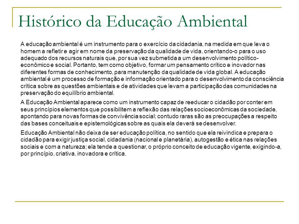 Histórico da Educação Ambiental A educação ambiental é um instrumento para o exercício da cidadania, na medida em que leva o homem a refletir e agir e
