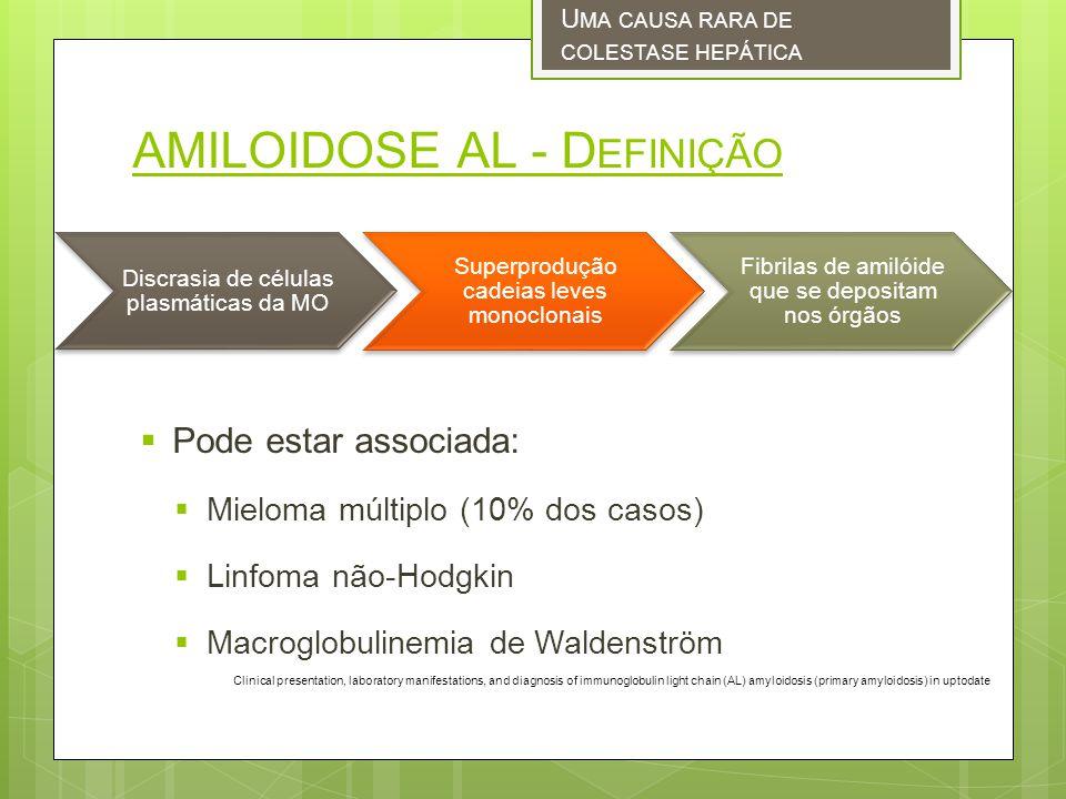 AMILOIDOSE AL - D EFINIÇÃO Pode estar associada: Mieloma múltiplo (10% dos casos) Linfoma não-Hodgkin Macroglobulinemia de Waldenström U MA CAUSA RARA DE COLESTASE HEPÁTICA Discrasia de células plasmáticas da MO Superprodução cadeias leves monoclonais Fibrilas de amilóide que se depositam nos órgãos Clinical presentation, laboratory manifestations, and diagnosis of immunoglobulin light chain (AL) amyloidosis (primary amyloidosis) in uptodate