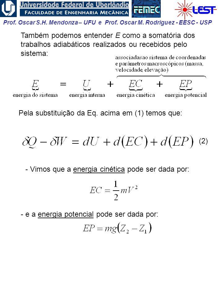 Prof. Oscar S.H. Mendonza – UFU e Prof. Oscar M. Rodriguez - EESC - USP Também podemos entender E como a somatória dos trabalhos adiabáticos realizado