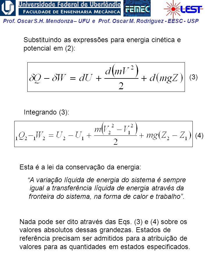 Prof. Oscar S.H. Mendonza – UFU e Prof. Oscar M. Rodriguez - EESC - USP Integrando (3): (4) Esta é a lei da conservação da energia: A variação líquida