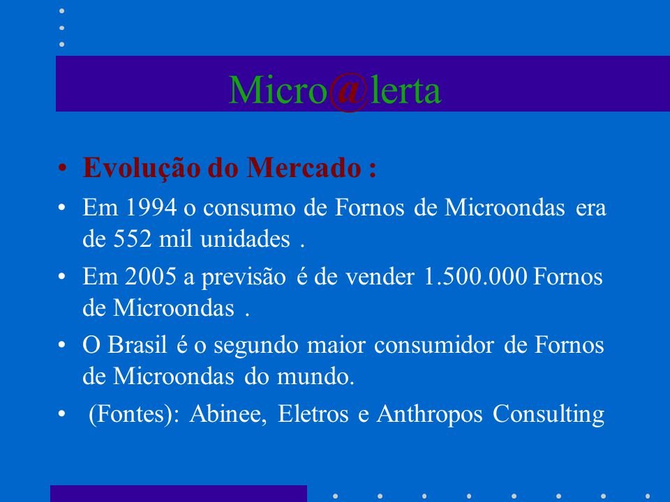 Micro @ lerta Evolução do Mercado : Em 1994 o consumo de Fornos de Microondas era de 552 mil unidades. Em 2005 a previsão é de vender 1.500.000 Fornos