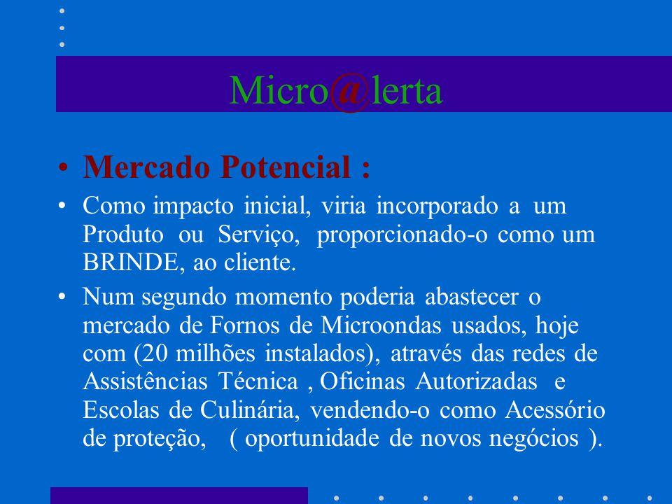 Micro @ lerta Mercado Potencial : Como impacto inicial, viria incorporado a um Produto ou Serviço, proporcionado-o como um BRINDE, ao cliente. Num seg