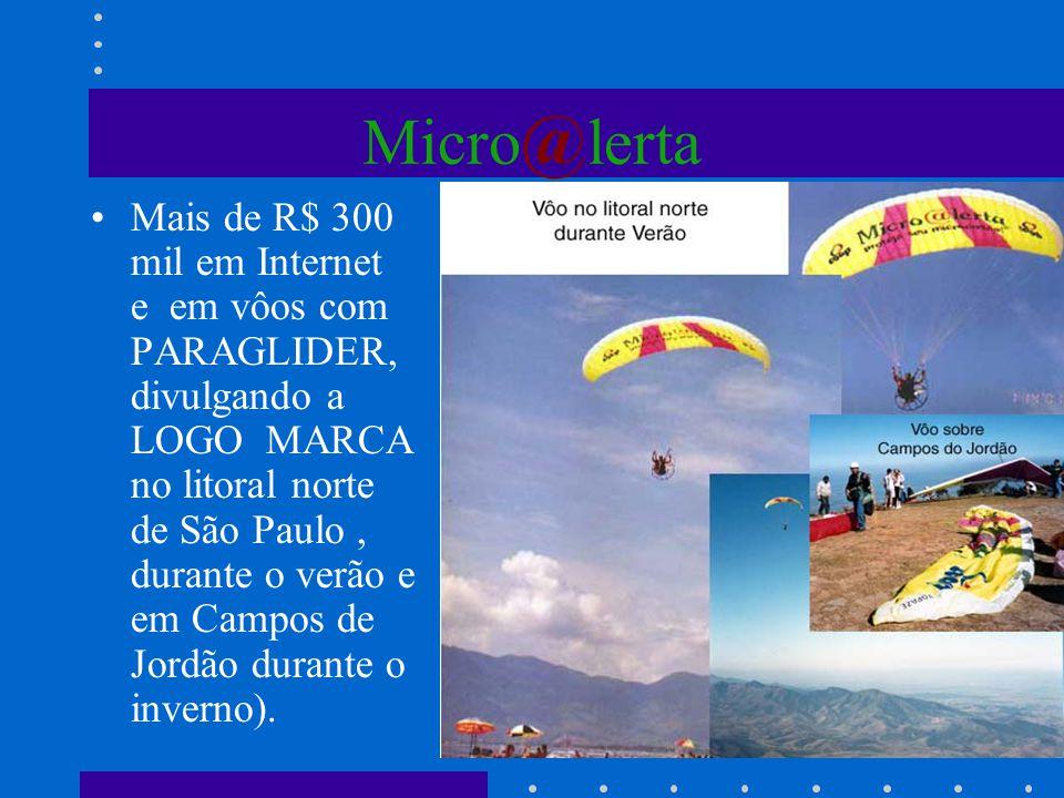 Micro @ lerta Mais de R$ 300 mil em Internet e em vôos com PARAGLIDER, divulgando a LOGO MARCA no litoral norte de São Paulo, durante o verão e em Cam