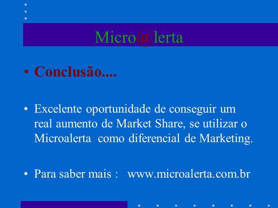 Micro @ lerta Conclusão.... Excelente oportunidade de conseguir um real aumento de Market Share, se utilizar o Microalerta como diferencial de Marketi