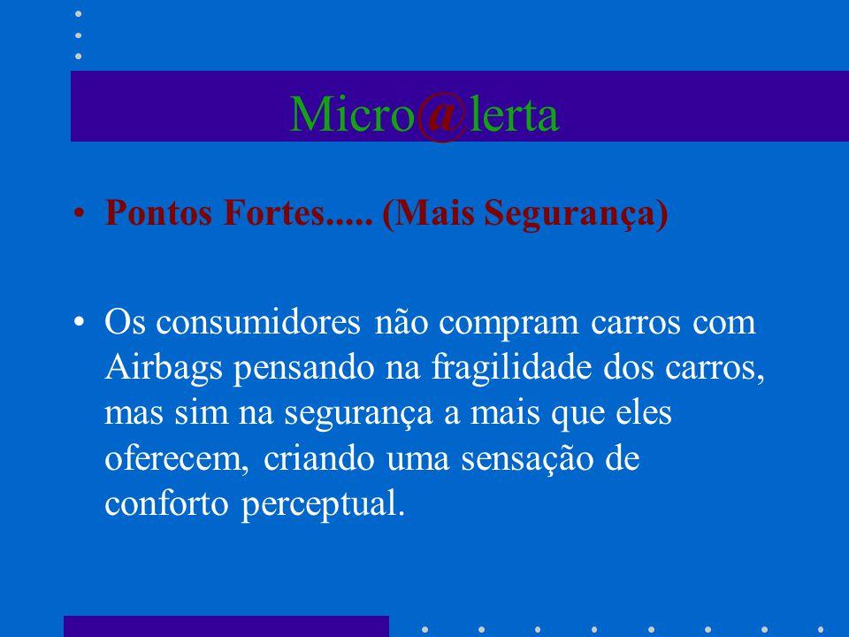 Micro @ lerta Pontos Fortes..... (Mais Segurança) Os consumidores não compram carros com Airbags pensando na fragilidade dos carros, mas sim na segura
