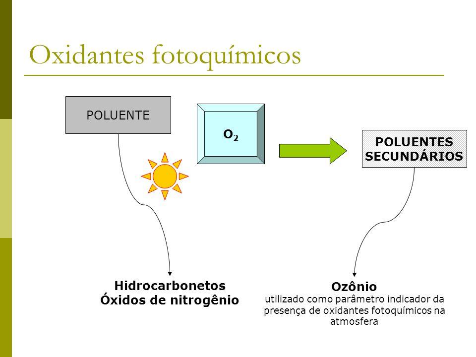 Oxidantes fotoquímicos POLUENTE O2O2 POLUENTES SECUNDÁRIOS Hidrocarbonetos Óxidos de nitrogênio Ozônio utilizado como parâmetro indicador da presença