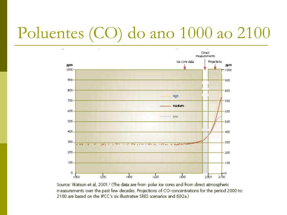 Poluentes (CO) do ano 1000 ao 2100