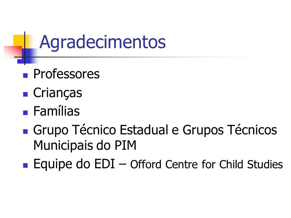 Agradecimentos Professores Crianças Famílias Grupo Técnico Estadual e Grupos Técnicos Municipais do PIM Equipe do EDI – Offord Centre for Child Studie