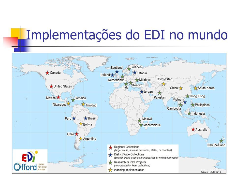Medidas de resultado do EDI Domínios do EDI recebem escore de 0-10 (com 10 sendo o melhor escore) e resumidos em 4 indicadores: 1.
