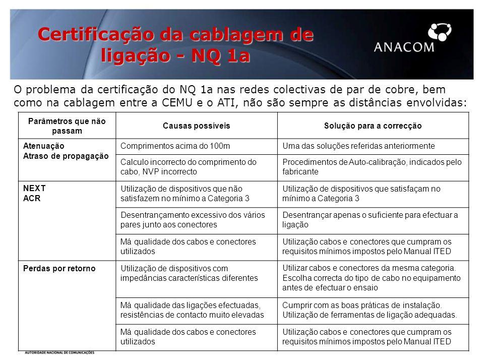 Certificação da cablagem de ligação - NQ 1a O problema da certificação do NQ 1a nas redes colectivas de par de cobre, bem como na cablagem entre a CEMU e o ATI, não são sempre as distâncias envolvidas: Parâmetros que não passam Causas possíveisSolução para a correcção Atenuação Atraso de propagação Comprimentos acima do 100mUma das soluções referidas anteriormente Calculo incorrecto do comprimento do cabo, NVP incorrecto Procedimentos de Auto-calibração, indicados pelo fabricante NEXT ACR Utilização de dispositivos que não satisfazem no mínimo a Categoria 3 Utilização de dispositivos que satisfaçam no mínimo a Categoria 3 Desentrançamento excessivo dos vários pares junto aos conectores Desentrançar apenas o suficiente para efectuar a ligação Má qualidade dos cabos e conectores utilizados Utilização cabos e conectores que cumpram os requisitos mínimos impostos pelo Manual ITED Perdas por retornoUtilização de dispositivos com impedâncias características diferentes Utilizar cabos e conectores da mesma categoria.