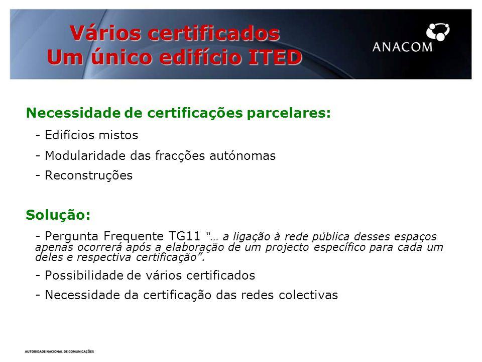Vários certificados Um único edifício ITED Necessidade de certificações parcelares: - Edifícios mistos - Modularidade das fracções autónomas - Reconstruções Solução: - Pergunta Frequente TG11 … a ligação à rede pública desses espaços apenas ocorrerá após a elaboração de um projecto específico para cada um deles e respectiva certificação.