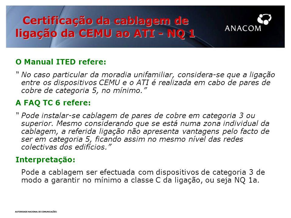 O Manual ITED refere: No caso particular da moradia unifamiliar, considera-se que a ligação entre os dispositivos CEMU e o ATI é realizada em cabo de pares de cobre de categoria 5, no mínimo.