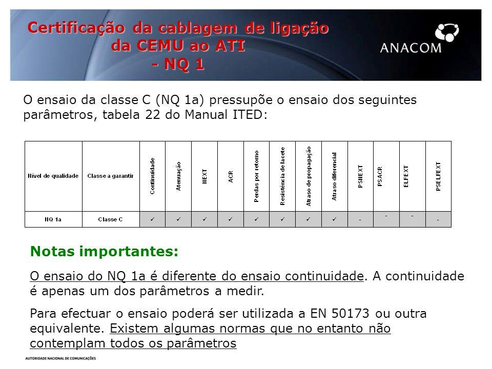 O ensaio da classe C (NQ 1a) pressupõe o ensaio dos seguintes parâmetros, tabela 22 do Manual ITED: Notas importantes: O ensaio do NQ 1a é diferente do ensaio continuidade.