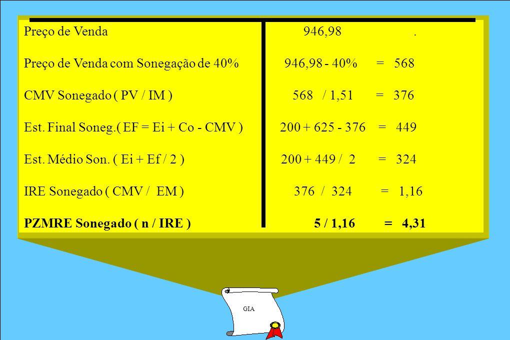 GIA Preço de Venda 946,98. Preço de Venda com Sonegação de 40% 946,98 - 40% = 568 CMV Sonegado ( PV / IM ) 568 / 1,51 = 376 Est. Final Soneg.( EF = Ei
