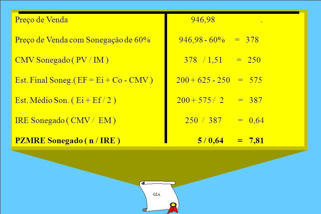 GIA Preço de Venda 946,98. Preço de Venda com Sonegação de 60% 946,98 - 60% = 378 CMV Sonegado ( PV / IM ) 378 / 1,51 = 250 Est. Final Soneg.( EF = Ei