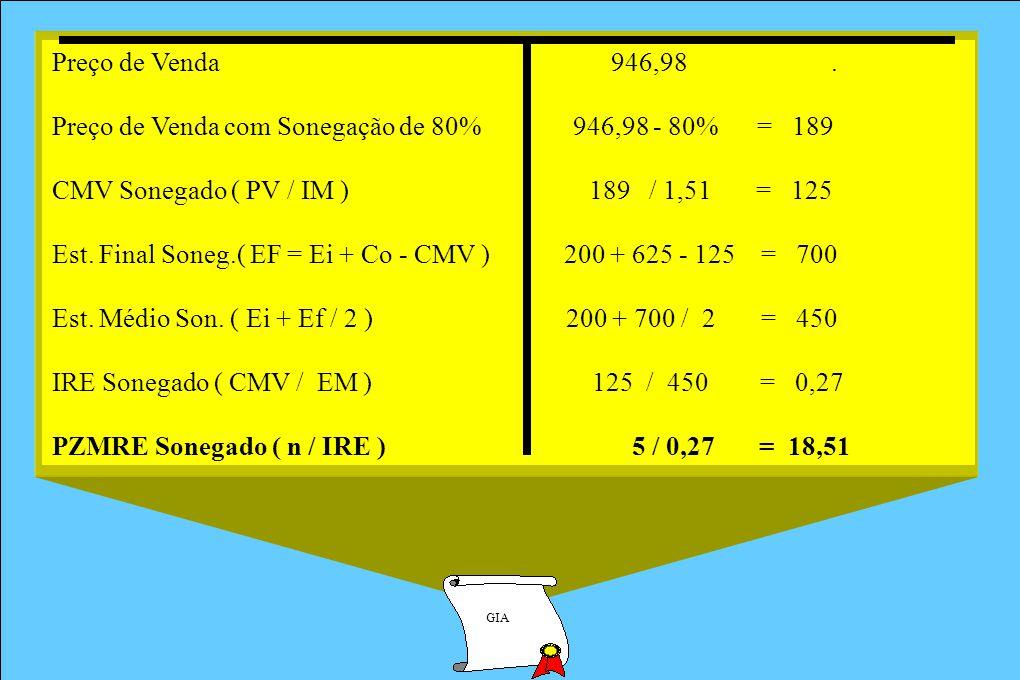 GIA Preço de Venda 946,98. Preço de Venda com Sonegação de 80% 946,98 - 80% = 189 CMV Sonegado ( PV / IM ) 189 / 1,51 = 125 Est. Final Soneg.( EF = Ei