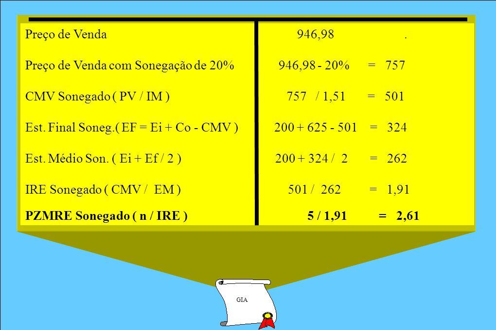 GIA Preço de Venda 946,98. Preço de Venda com Sonegação de 20% 946,98 - 20% = 757 CMV Sonegado ( PV / IM ) 757 / 1,51 = 501 Est. Final Soneg.( EF = Ei