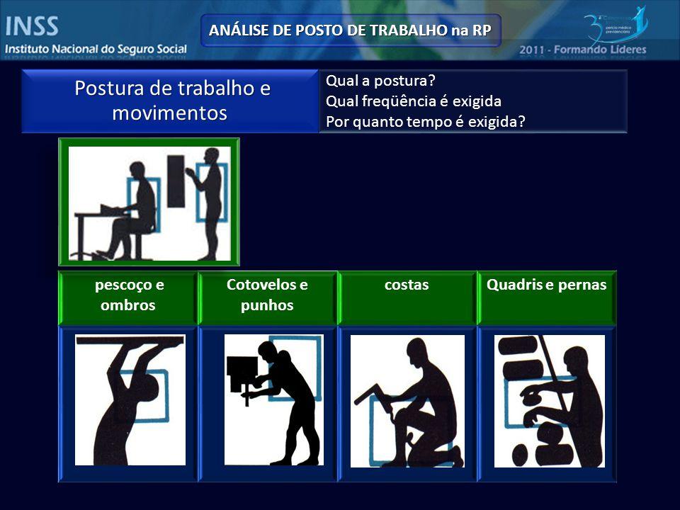 ANÁLISE DE POSTO DE TRABALHO na RP Postura de trabalho e movimentos Postura de trabalho e movimentos Qual a postura.