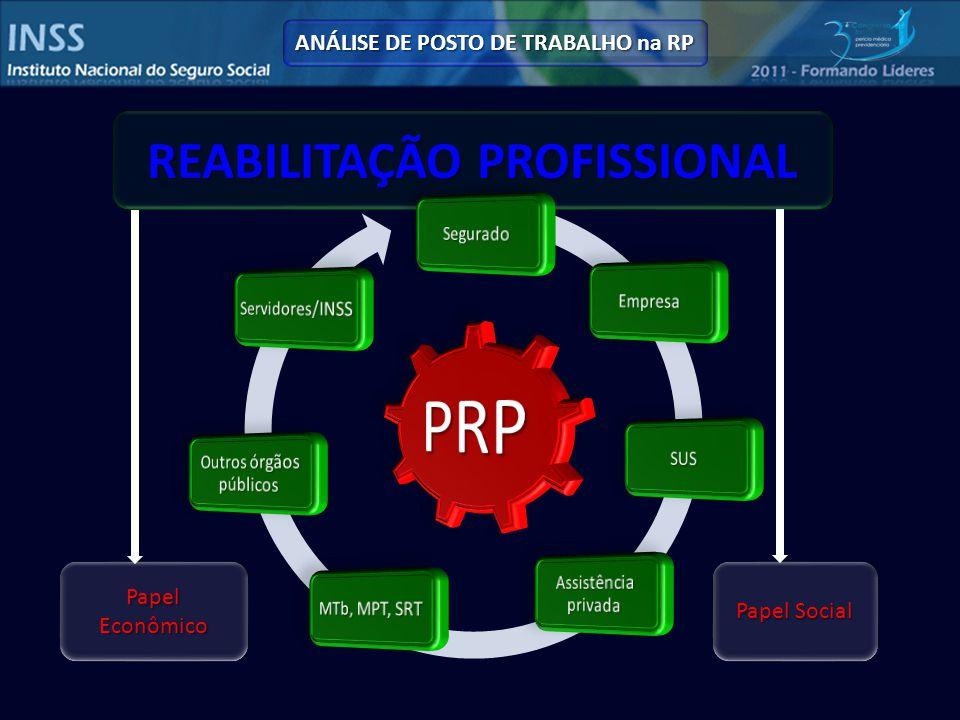 REABILITAÇÃO PROFISSIONAL Papel Social Papel Econômico ANÁLISE DE POSTO DE TRABALHO na RP