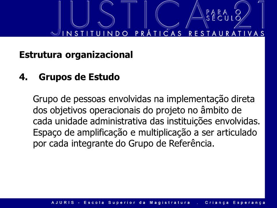 Estrutura organizacional 4. Grupos de Estudo Grupo de pessoas envolvidas na implementação direta dos objetivos operacionais do projeto no âmbito de ca