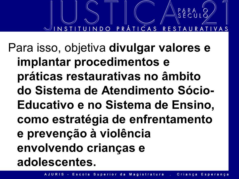 Para isso, objetiva divulgar valores e implantar procedimentos e práticas restaurativas no âmbito do Sistema de Atendimento Sócio- Educativo e no Sist