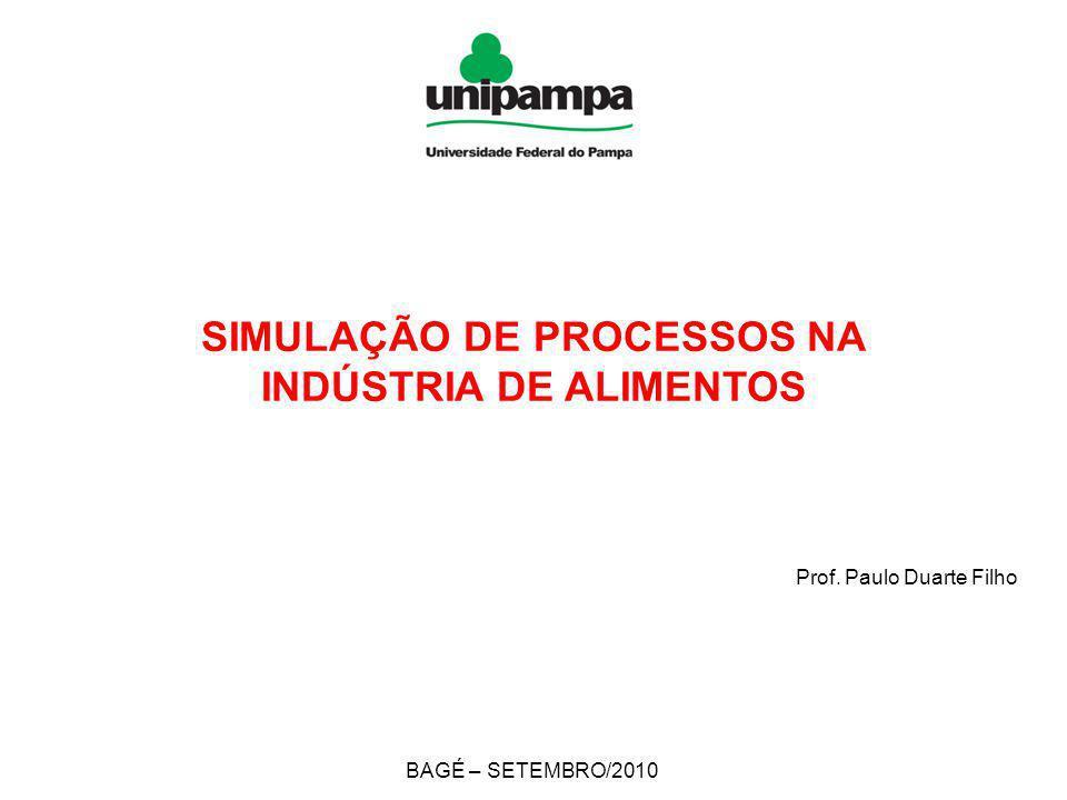 SIMULAÇÃO DE PROCESSOS NA INDÚSTRIA DE ALIMENTOS Prof. Paulo Duarte Filho BAGÉ – SETEMBRO/2010