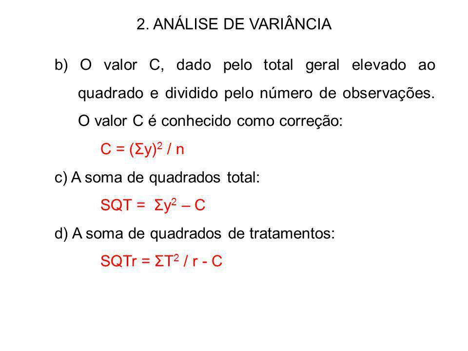 2. ANÁLISE DE VARIÂNCIA b) O valor C, dado pelo total geral elevado ao quadrado e dividido pelo número de observações. O valor C é conhecido como corr