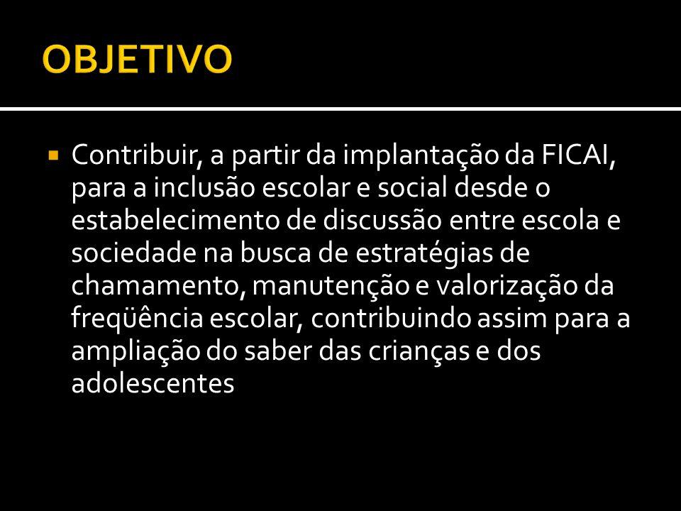 Contribuir, a partir da implantação da FICAI, para a inclusão escolar e social desde o estabelecimento de discussão entre escola e sociedade na busca