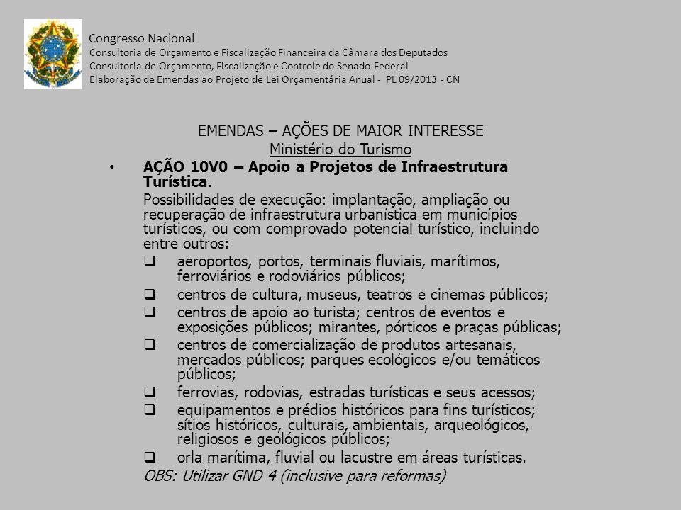 EMENDAS – AÇÕES DE MAIOR INTERESSE Ministério do Turismo AÇÃO 10V0 – Apoio a Projetos de Infraestrutura Turística.