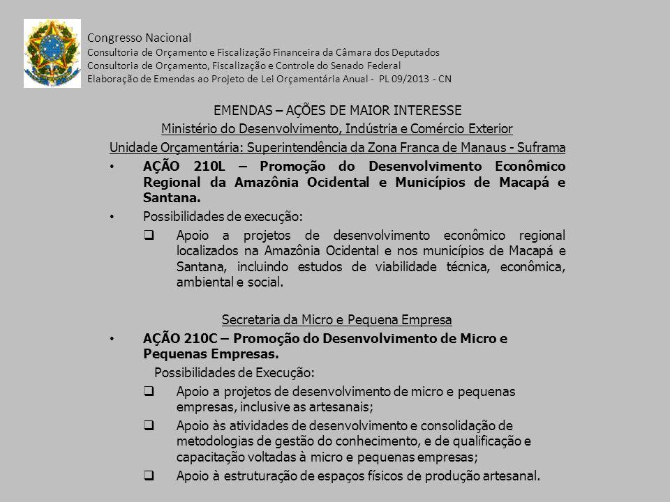 EMENDAS – AÇÕES DE MAIOR INTERESSE Ministério do Desenvolvimento, Indústria e Comércio Exterior Unidade Orçamentária: Superintendência da Zona Franca de Manaus - Suframa AÇÃO 210L – Promoção do Desenvolvimento Econômico Regional da Amazônia Ocidental e Municípios de Macapá e Santana.