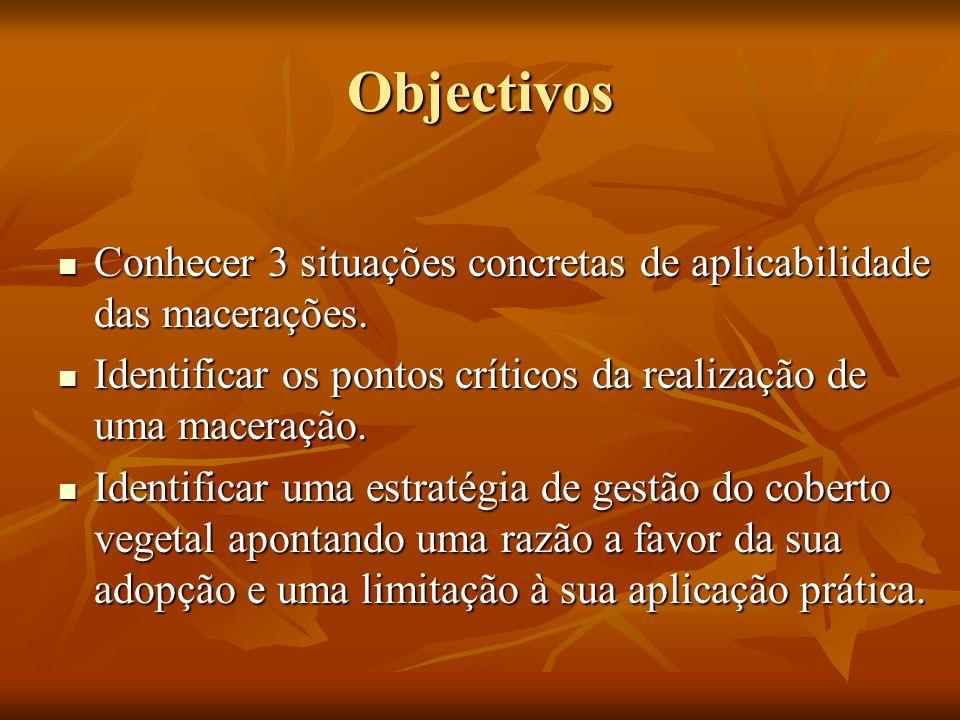 Objectivos Conhecer 3 situações concretas de aplicabilidade das macerações. Conhecer 3 situações concretas de aplicabilidade das macerações. Identific