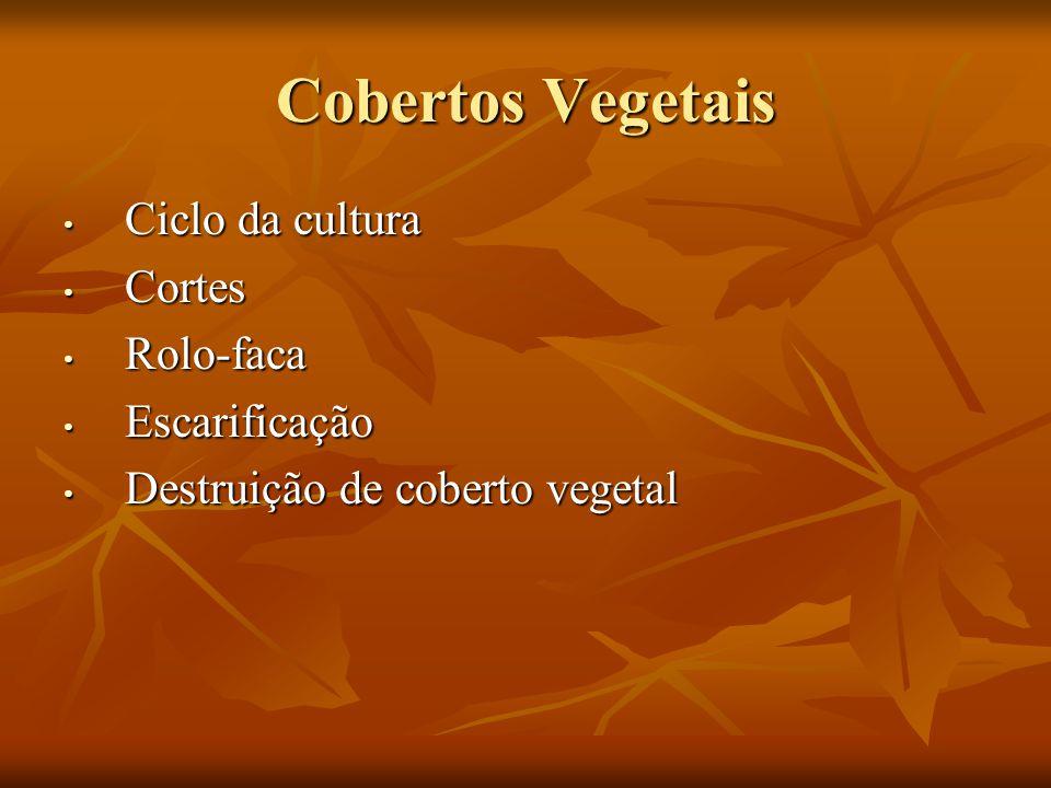 Cobertos Vegetais Ciclo da cultura Ciclo da cultura Cortes Cortes Rolo-faca Rolo-faca Escarificação Escarificação Destruição de coberto vegetal Destru