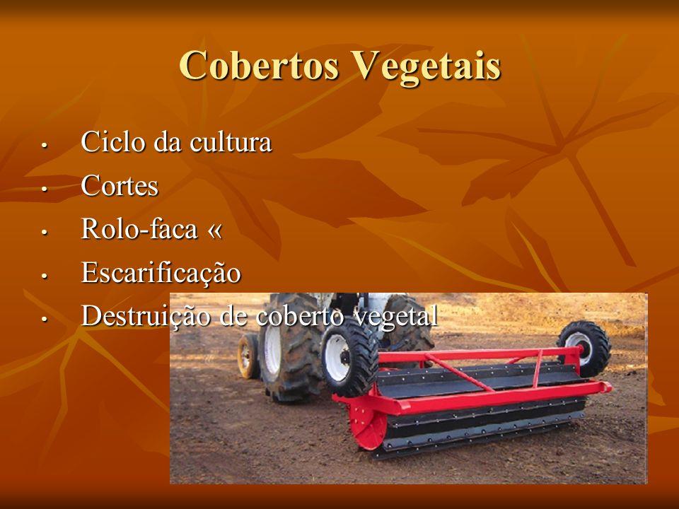 Cobertos Vegetais Ciclo da cultura Ciclo da cultura Cortes Cortes Rolo-faca « Rolo-faca « Escarificação Escarificação Destruição de coberto vegetal De