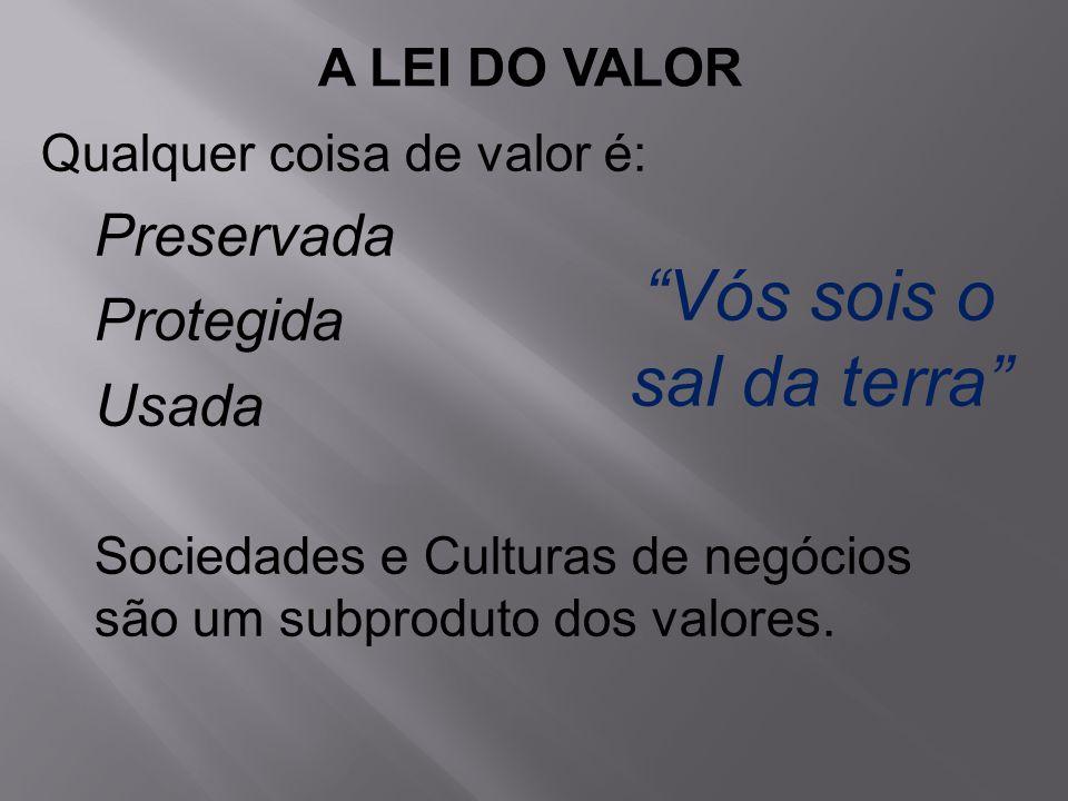 Qualquer coisa de valor é: Preservada Protegida Usada Sociedades e Culturas de negócios são um subproduto dos valores.
