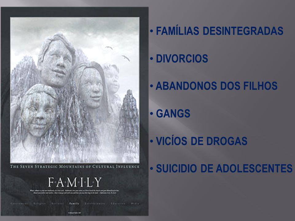 FAMÍLIAS DESINTEGRADAS DIVORCIOS ABANDONOS DOS FILHOS GANGS VICÍOS DE DROGAS SUICIDIO DE ADOLESCENTES