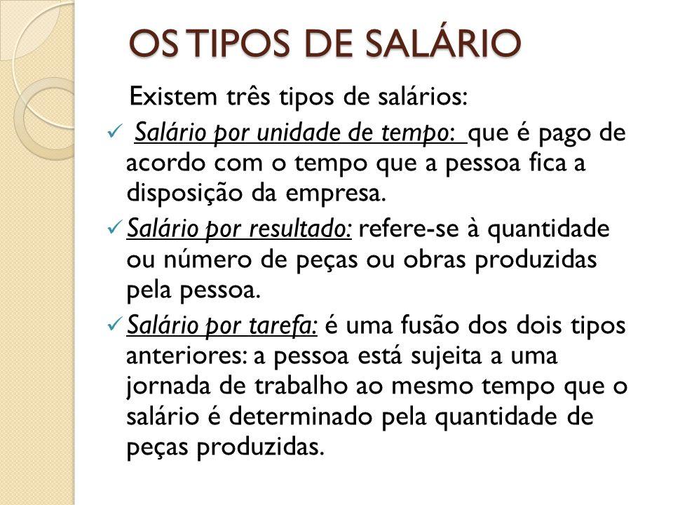 OS TIPOS DE SALÁRIO Existem três tipos de salários: Salário por unidade de tempo: que é pago de acordo com o tempo que a pessoa fica a disposição da empresa.