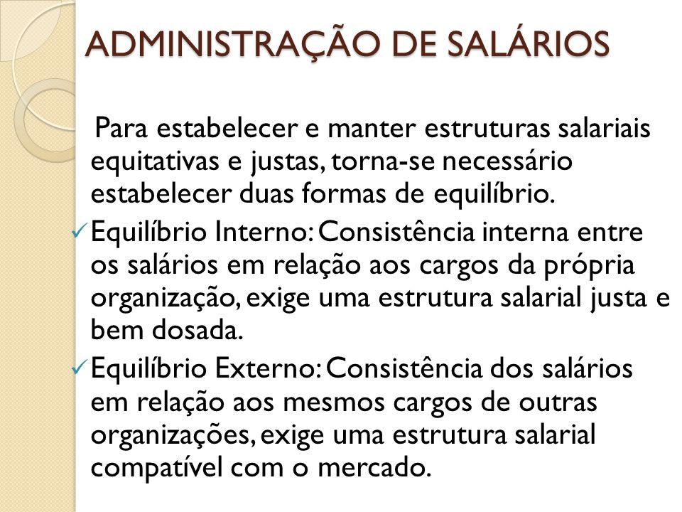 ADMINISTRAÇÃO DE SALÁRIOS Para estabelecer e manter estruturas salariais equitativas e justas, torna-se necessário estabelecer duas formas de equilíbr