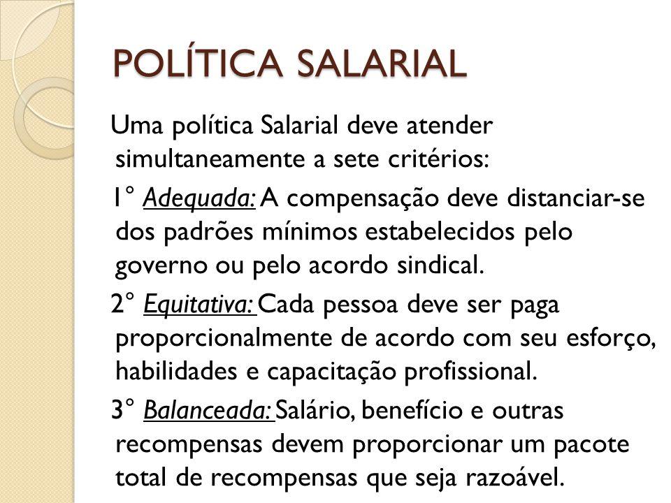POLÍTICA SALARIAL Uma política Salarial deve atender simultaneamente a sete critérios: 1° Adequada: A compensação deve distanciar-se dos padrões mínimos estabelecidos pelo governo ou pelo acordo sindical.
