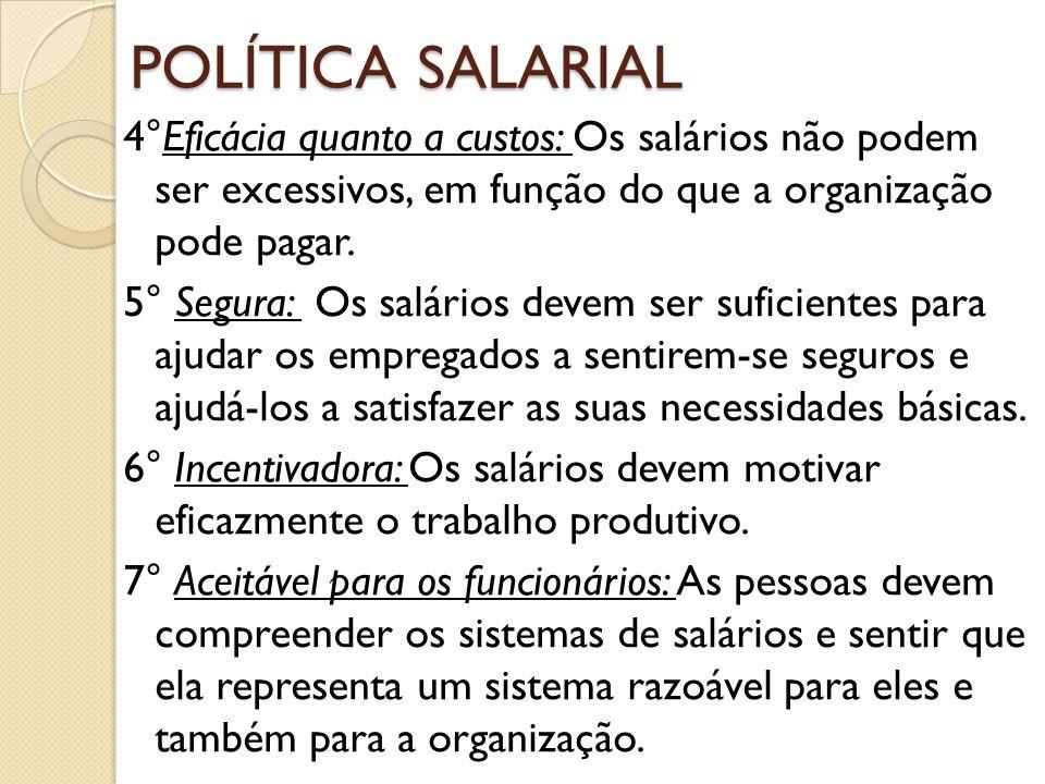 POLÍTICA SALARIAL 4°Eficácia quanto a custos: Os salários não podem ser excessivos, em função do que a organização pode pagar. 5° Segura: Os salários