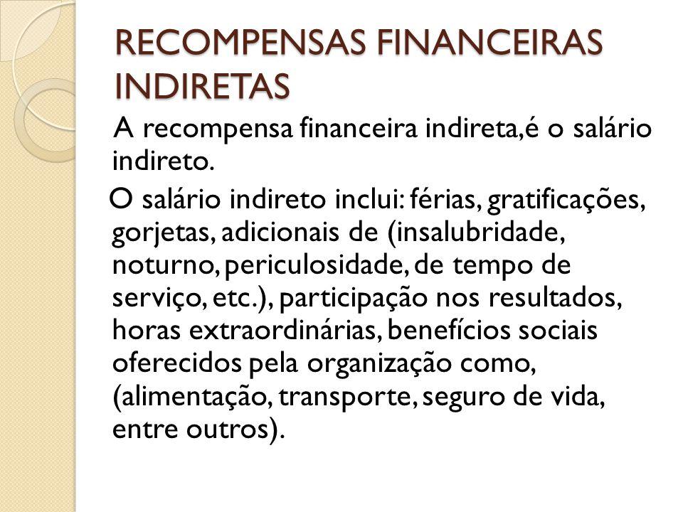 RECOMPENSAS FINANCEIRAS INDIRETAS A recompensa financeira indireta,é o salário indireto. O salário indireto inclui: férias, gratificações, gorjetas, a