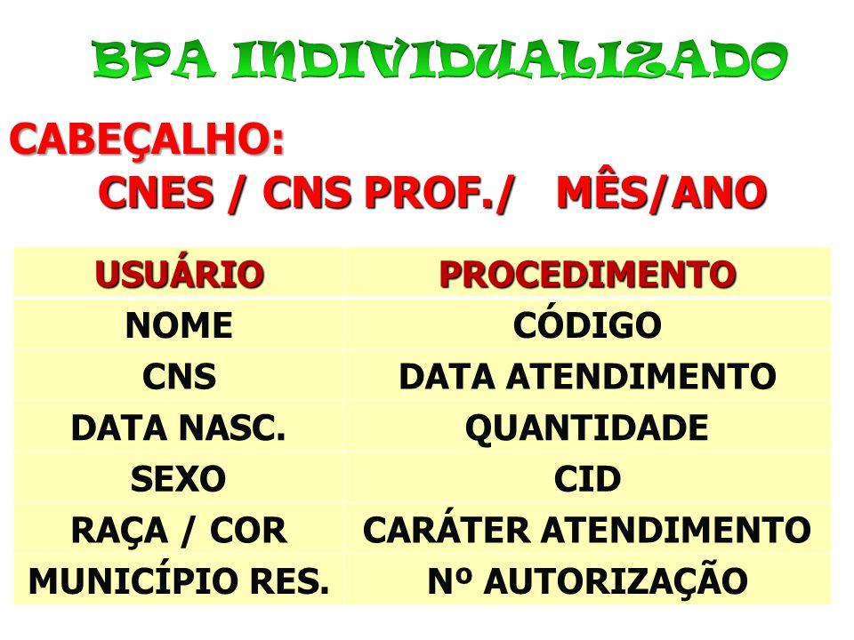 CABEÇALHO: CNES / CNS PROF./ MÊS/ANO CNES / CNS PROF./ MÊS/ANOUSUÁRIOPROCEDIMENTO NOMECÓDIGO CNSDATA ATENDIMENTO DATA NASC.QUANTIDADE SEXOCID RAÇA / C