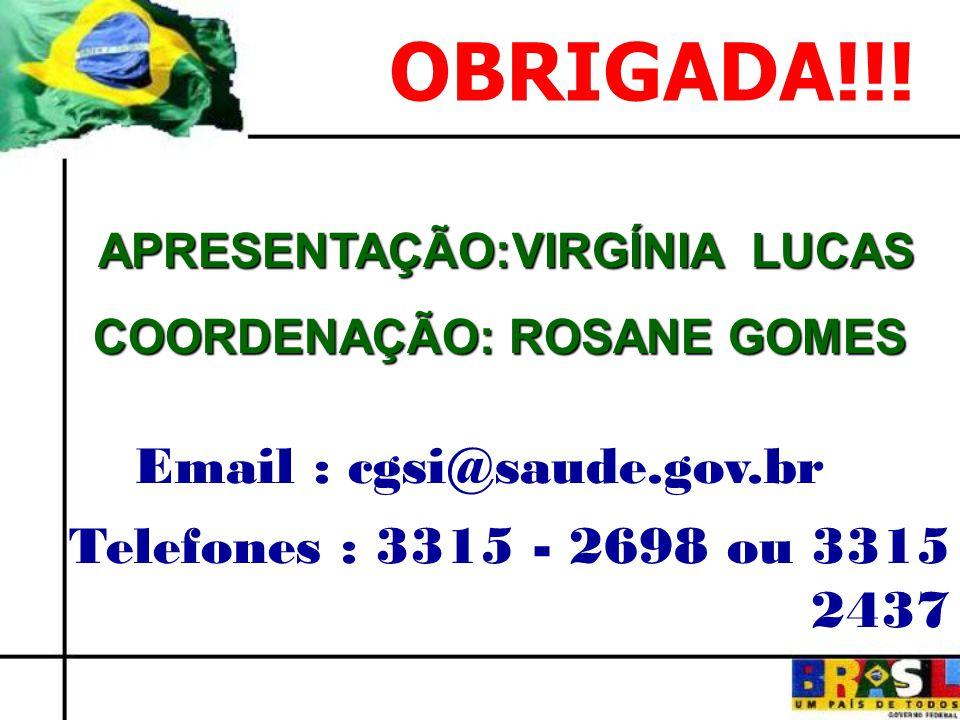 APRESENTAÇÃO:VIRGÍNIA LUCAS APRESENTAÇÃO:VIRGÍNIA LUCAS COORDENAÇÃO: ROSANE GOMES COORDENAÇÃO: ROSANE GOMES Email : cgsi@saude.gov.br Telefones : 3315