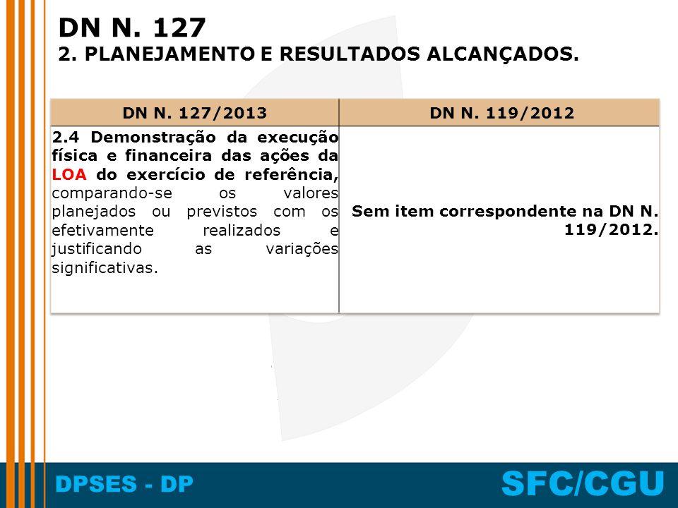 DPSES - DP SFC/CGU DN N. 127 2. PLANEJAMENTO E RESULTADOS ALCANÇADOS.