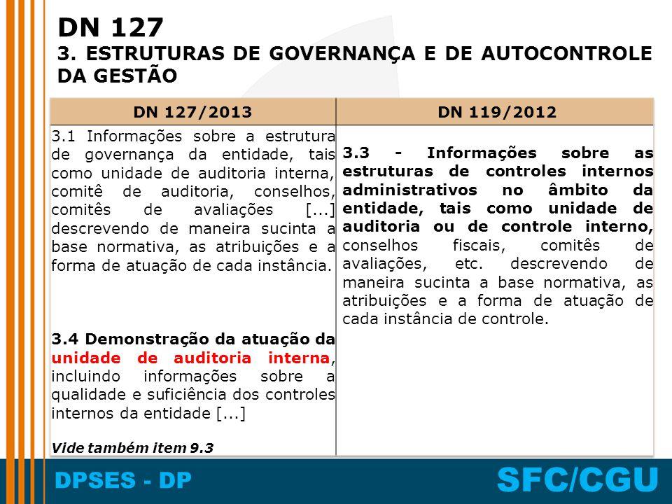 DPSES - DP SFC/CGU DN 127 3. ESTRUTURAS DE GOVERNANÇA E DE AUTOCONTROLE DA GESTÃO